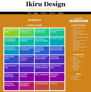 This blog's archives page, shown with the Kaleidoscope theme, on August 6, 2008.